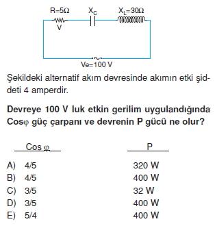 İndüksiyon ve Alternatif Akım test 2005