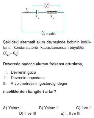 ‹ndüksiyon ve Alternatif Akım çözümlü test 1004