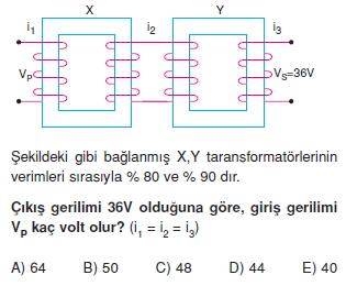 ‹ndüksiyon ve Alternatif Akım çözümlü test 1006