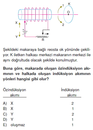 İndüksiyon ve Alternatif Akım test 1009