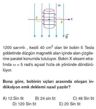 ‹ndüksiyon ve Alternatif Akım çözümlü test 1002