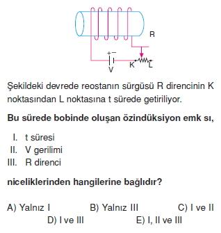 ‹ndüksiyon ve Alternatif Akım çözümlü test 2002
