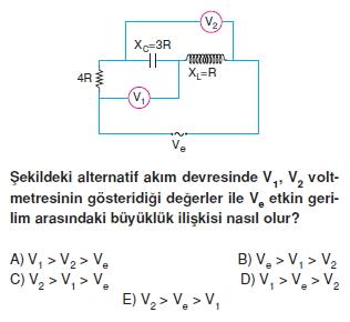‹ndüksiyon ve Alternatif Akım çözümlü test 2005
