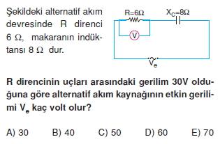 ‹ndüksiyon ve Alternatif Akım çözümlü test 2008