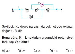 Elektrik Akımı çözümlü test 2005