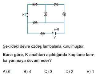 Elektrik Akımı çözümlü test 2006