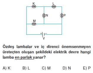 Elektrik Akımı çözümlü test 2007