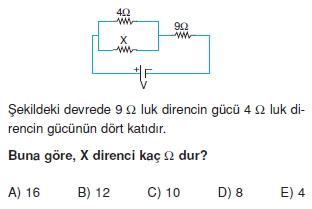 Elektrik Akımı çözümlü test 2009