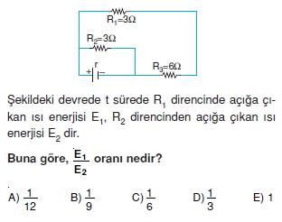 Elektrik Akımı çözümlü test 2010