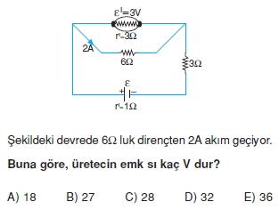 Elektrik Akımı çözümlü test 2011