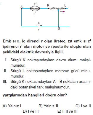Elektrik Akımı çözümlü test 2013