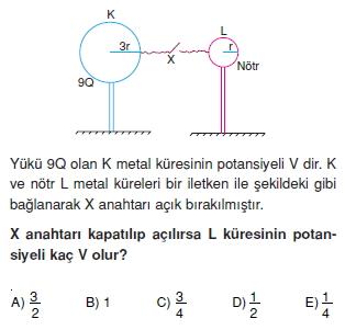 Elektriksel Alan ve Kondansatör çözümlü test 1004