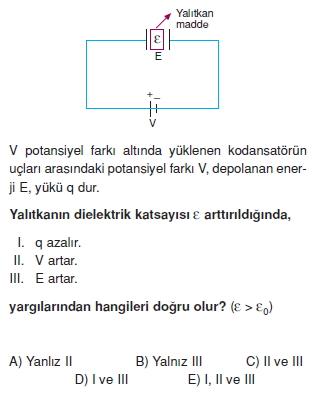 Elektriksel Alan ve Kondansatör çözümlü test 1009