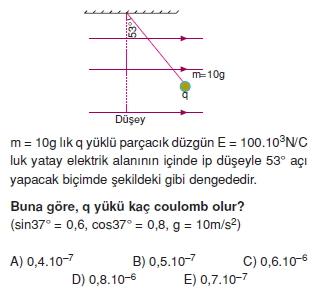 Elektriksel Alan ve Kondansatör çözümlü test 1002