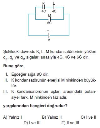 Elektriksel Alan ve Kondansatör çözümlü test 1008