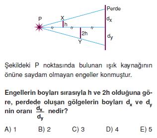 Işık Bilgisi çözümlü test 1002
