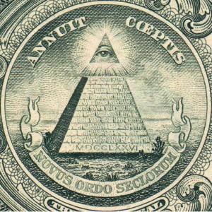 Bir doların üzerindeki piramit sembolü